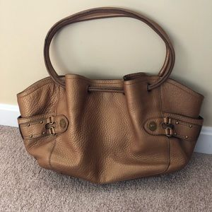 COLE HAAN 'Village Lunch Tote' Bronze Leather